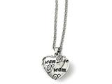 """Chisel Stainless Steel Polished Heart """"dream"""" Necklace style: SRN160018"""