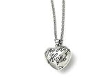 Chisel Stainless Steel Polished And Enameled Hope Heart Necklace style: SRN160118