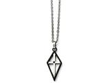 Chisel Stainless Steel Black Ip-plated Cross Cz Polished Necklace style: SRN160220