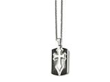 Chisel Stainless Steel Brushed/polished Black Ip Cross Dog Tag Necklace style: SRN160522