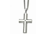 Chisel Stainless Steel Polished And Brushed CZ Cross Necklace style: SRN160622