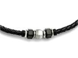 Chisel Stainless Steel Brushed Leather Black Ip-plated and Rubber Necklace style: SRN16201925