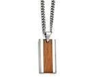 Chisel Stainless Steel Polished Red/orange Wood Inlay Enameled Necklace style: SRN162920