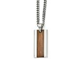 Chisel Stainless Steel Polished Brown Wood Inlay Enameled Necklace style: SRN163120