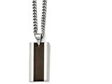 Chisel Stainless Steel Polished Black Wood Inlay Enameled Necklace style: SRN163220