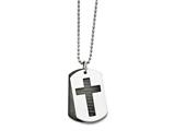 "Chisel Stainless Steel Polished Black Ip-plated Lord""s Prayer Necklace style: SRN164324"