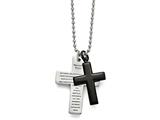 "Chisel Stainless Steel Polished Black Ip-plated Lord""s Prayer Cross Necklace style: SRN164524"