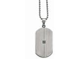 Chisel Stainless Steel Matte/antiqued 0.04ct.tw Diamond Dog Tag Necklace style: SRN165822