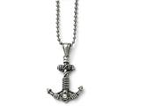Chisel Stainless Steel Polished And Antiqued Anchor Necklace style: SRN165924