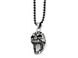 Chisel Stainless Steel Polished And Antiqued Skull Necklace style: SRN169922