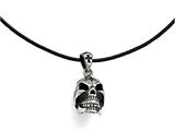 Chisel Stainless Steel Polished And Antiqued Moveable Skull Necklace style: SRN171520