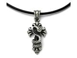 Chisel Stainless Steel Polished And Antiqued Snake And Cross Necklace style: SRN172020