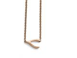 Chisel Stainless Steel Polished Rose Ip-plated Sideways Wishbone Necklace style: SRN17281625