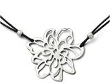 Chisel Stainless Steel Polished Flower With Black Leather Cord Necklace style: SRN1733185