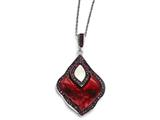 Chisel Stainless Steel Polished Black Ip-plated Enamel Crystal Mop Necklace style: SRN176418