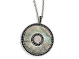 Chisel Stainless Steel Polished Black Mother Of Pearl And Crystal Necklace style: SRN17671825