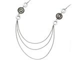 Chisel Stainless Steel Polished Black Mop And Crystal W/.75in Ext Necklace style: SRN176823
