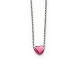Chisel Stainless Steel Pink Ip-plated Polished Heart Necklace style: SRN178916