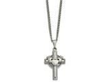 Chisel Stainless Steel Polished Claddagh Cross Necklace style: SRN179320