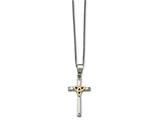 Chisel Stainless Steel Polished Yellow Ip-plated W/ CZ Cross Necklace style: SRN179518