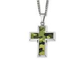 Chisel Stainlesssteel Polished Printed Greencamo Under Rubber Crossnecklace style: SRN180622
