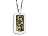Chisel Stainless Steel Polished Printed Brown Camo Under Rubber Necklace style: SRN180922