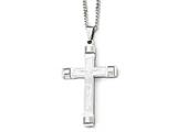 Chisel Stainless Steel Brushed And Polished Cross Necklace style: SRN181422