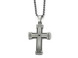 Chisel Stainless Steel Antiqued Polished And Brushed Cz Cross Necklace style: SRN182322