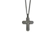 Chisel Stainless Steel Polished Textured Black Ip-plated Cross Necklace style: SRN182422