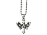 Chisel Stainless Steel Polished And Antiqued Cross W/wings Necklace style: SRN182720