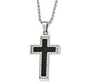 Chisel Stainless Steel Polished Black Ip-plated CZ Cross Necklace style: SRN182922