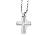Chisel Stainless Steel Polished And Brushed CZ Cross Necklace style: SRN183022