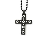 Chisel Stainless Steel Brushed And Polished Black Ip-plated Cross Necklace style: SRN183222