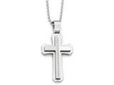 Chisel Stainless Steel Polished And Brushed Cross Necklace style: SRN183324