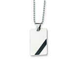 <b>Engravable</b> Chisel Stainless Steel Carbon Fiber Necklace - 24 inches style: SRN183