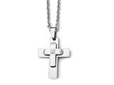 Chisel Stainless Steel Polished CZ Cross Necklace style: SRN184022