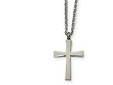 Chisel Stainless Steel Brushed And Polished Small Cross Necklace style: SRN185518