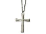 Chisel Stainless Steel Brushed And Polished Cross Necklace style: SRN185618