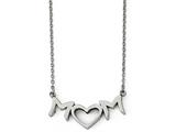 Chisel Stainless Steel Brushed And Polished Mom With Heart Necklace style: SRN185918
