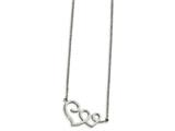 Chisel Stainless Steel Polished Hearts Necklace style: SRN1867175
