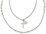 Chisel Stainless Steel W/ Fwc Pearls Double Strand Infinity Cross Necklace style: SRN187624