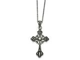 Chisel Stainless Steel Antiqued And Polished W/crystal Cross Necklace style: SRN189618