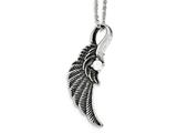 Chisel Stainless Steel Antiqued And Polished W/ Crystal Wing Necklace style: SRN189820