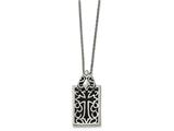 Chisel Stainless Steel Antiqued and Polished W/ Black Glass Cross Necklace style: SRN190720