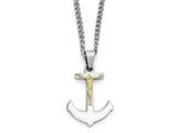 Chisel Stainless Steel W/14k Gold Crucifix Anchor Necklace style: SRN192924