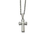 Chisel Stainless Steel Polished Small Cushion Cross Necklace style: SRN193318