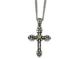 Chisel Stainless Steel Antiqued Yellow Ip-plated D/c Center Cross Necklace style: SRN193524