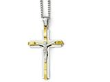 Chisel Stainless Steel Polished Yellow Ip Crucifix Necklace style: SRN193824