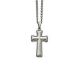 Chisel Stainless Steel Polished Cushion Cross Necklace style: SRN195224