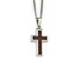 Chisel Stainless Steel Polished Wood Inlay Cross Necklace style: SRN195524